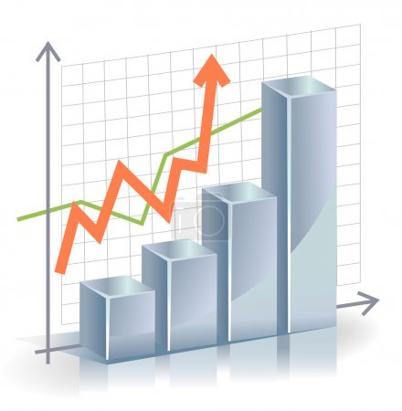 Illustration for Business vector Graph with arrow showing profits and gains - Royalty Free Image