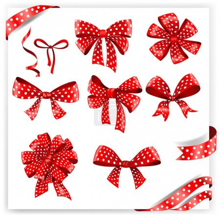 Illustration for Set of red polka dot gift bows with ribbons. Vector illustration - Royalty Free Image