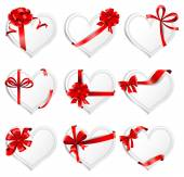 Heart-shaped  cards with gift ribbons.