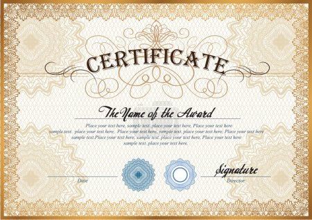 Illustration for Vector illustration of gold detailed certificate with watermarks - Royalty Free Image