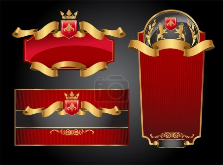 Illustration for Set of vector labels with red and gold elements - Royalty Free Image