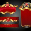 Set of vector labels with red and gold elements...