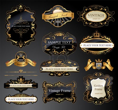 Vector frames and ornamental labels set. All pieces are separated