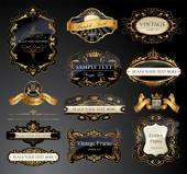 Vector frames and ornamental labels set All pieces are separated