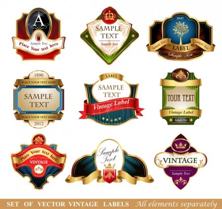 Illustration for Ornate vintage luxury  labels. All elements separately - Royalty Free Image