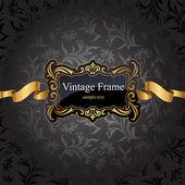 Vintage gold frame on black damask background Vector illustration