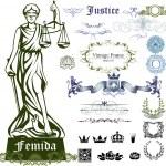 Set of justice symbols, ornaments and illustration...