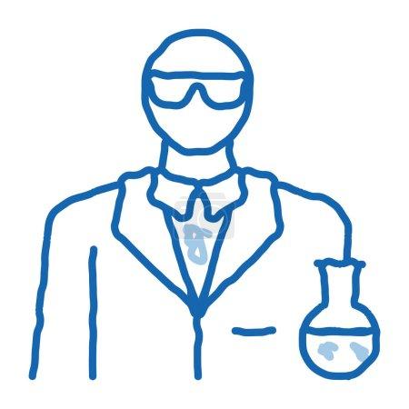 Photo pour Profession de chimiste croquis icône vecteur. Dessiné à la main ligne bleue signe de la profession de chimiste art doodle. illustration de symbole isolé - image libre de droit