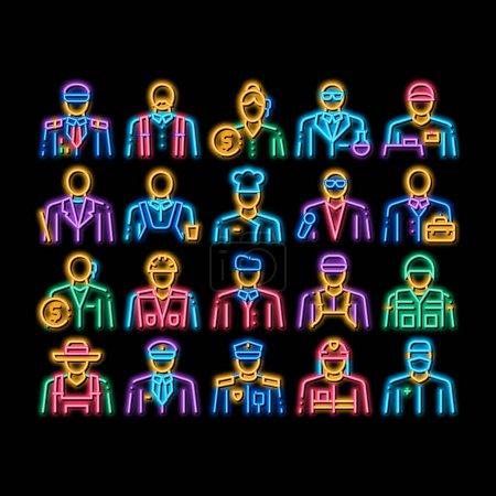 Photo pour Professions Les gens néon signe lumineux vecteur. Icône brillante lumineux policier et agriculteur, pompier et soldat, homme d'affaires et femme d'affaires, coiffeur et constructeur Illustrations - image libre de droit