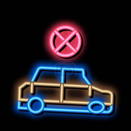 Illustration pour Voiture écrasée néon signe lumineux vecteur. Icône lumineuse lumineuse Écrasé signe de voiture. illustration de symbole transparent - image libre de droit