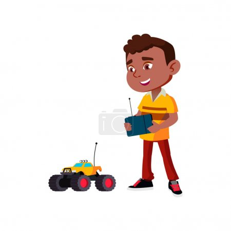 Illustration for Indian boy play with wireless control car toy cartoon vector. indian boy play with wireless control car toy character. isolated flat cartoon illustration - Royalty Free Image