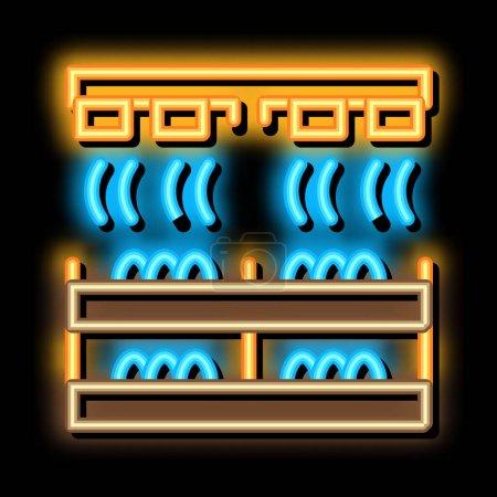 Illustration pour Champignon ferme chauffage néon signe lumineux vecteur. Panneau lumineux lumineux de chauffage de ferme champignon icône. illustration de symbole transparent - image libre de droit