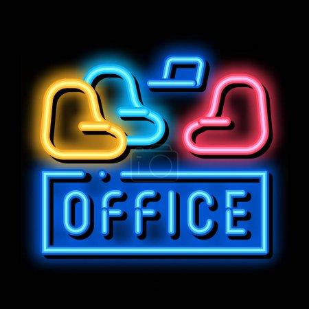 Illustration pour Fauteuil de bureau néon signe lumineux vecteur. Fauteuil de bureau icône lumineux signe. illustration de symbole transparent - image libre de droit