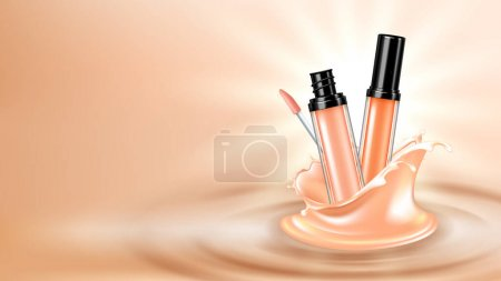 Illustration for Concealer Face Skincare Cosmetic Copy Space Vector. Facial Skin Care Concealer Cosmetic Fashion Product Blank Packaging And Liquid Splash. Cosmetology Package Template Realistic 3d Illustration - Royalty Free Image