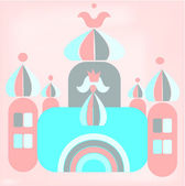 Funny cartoon of romantic castle with princess