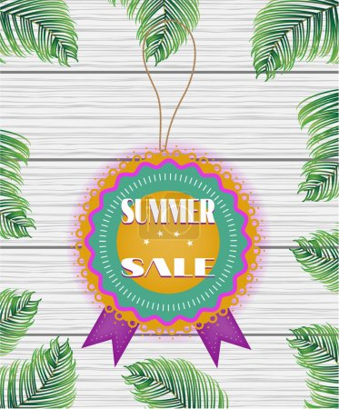 One beautiful, colorful, rounded sticker with text Summer Sale on white, wooden background with green palm leaves