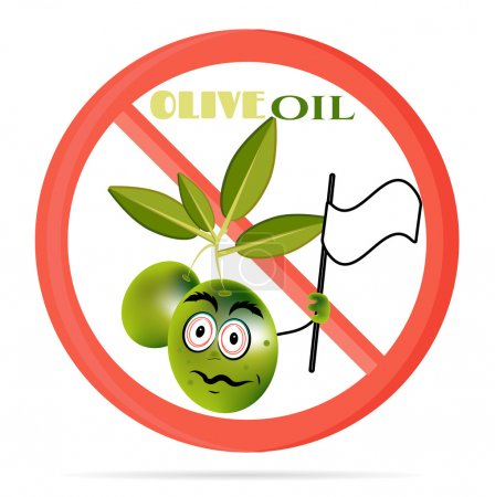 Funny illustration of prohibited, sign with green olives with leaves, face. Olive waving with white flag.