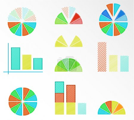 Set, collection of isolated, colorful - blue, yellow, red, orange, green - pie charts, diagrams, graphs for infographic, presentation, reports, documents, white background