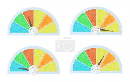 Set, collection of isolated, colorful - blue, yellow, red, orange, green - pie charts, diagrams, graphs for infographic, presentation, reports, documents OR speedometer, general gauge, template for