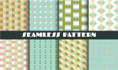 Set collection group of six vintage blue green pink white yellow seamless patterns with simple shapes-dots rectangles