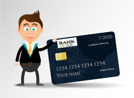 Realistic, isolated, modern, black credit card with pattern, smiling, young businessman, white background