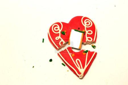 Photo pour Broken leceder heart on white background - image libre de droit