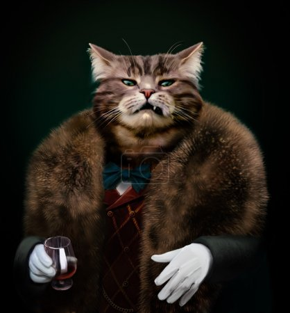 Portrait of Gangster boss Pet in fur coat with bow...