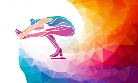 Creative silhouette of ice skating girl on multicolor back