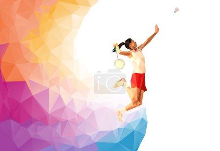 Photo pour Fond triangle coloré inhabituel : Joueur de badminton professionnel polygonal géométrique, lors du smash - image libre de droit