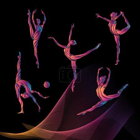 Illustration pour Collection 4 silhouettes créatives de filles de gymnastique. Set de gymnastique artistique, illustration vectorielle noir et blanc - image libre de droit