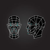 Geometric abstract human face front view side view Biometric verification