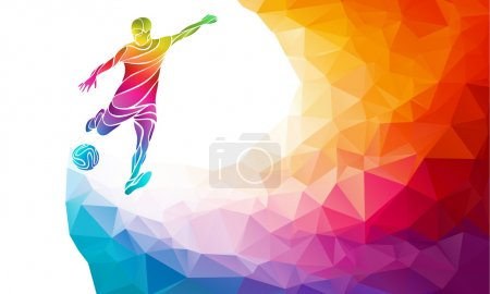 Illustration for Creative soccer player. Football player kicks the ball, colorful vector illustration with background or banner template in trendy abstract pectrum polygon style and rainbow back - Royalty Free Image