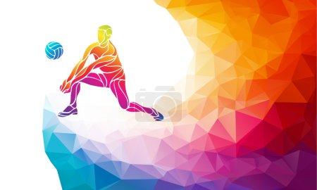Photo pour Silhouette créative du joueur de volley recevant une balle. Sport de plage, illustration vectorielle colorée avec fond ou modèle de bannière dans un style géométrique polygone coloré abstrait à la mode et arc-en-ciel - image libre de droit