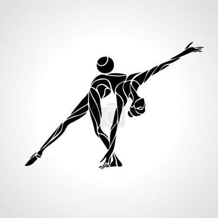Silhouette of art rhythmic gymnastic girl with ball