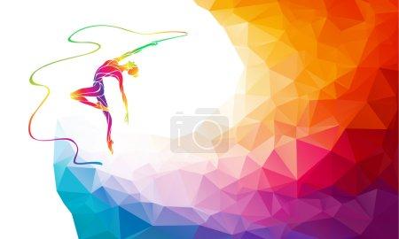 Illustration pour Silhouette créative de fille gymnastique. Gymnastique artistique avec ruban, illustration vectorielle colorée avec fond ou gabarit de bannière dans un style polygone abstrait coloré à la mode et dos arc-en-ciel - image libre de droit