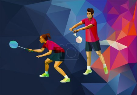 Creative triangle style professional badminton players, mixt pair, double game, man and woman