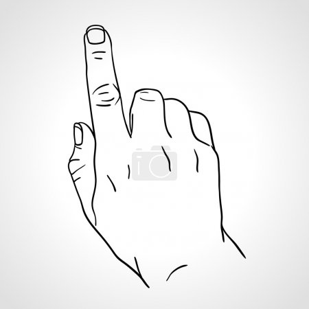 Line art drawing hand with forefinger pressing imaginable button, sketch hand, the Index Finger, pointing finger