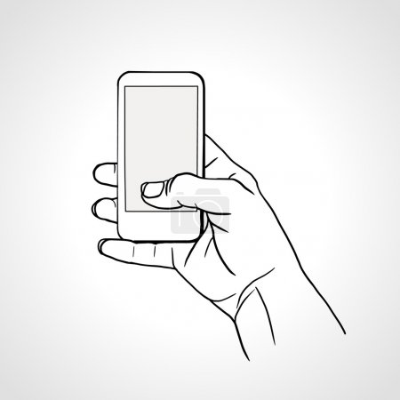 Hand Holding Mobile, arm with cell, line art drawing hand with mobile phone
