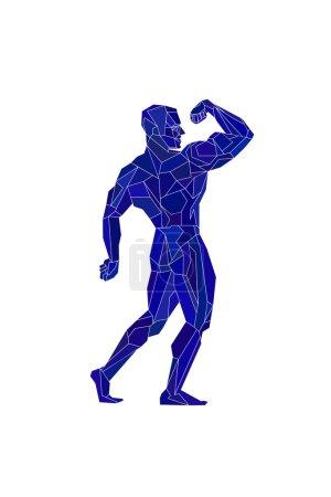 Polygonal blue bodybuilder, silhouette. Vector illustration