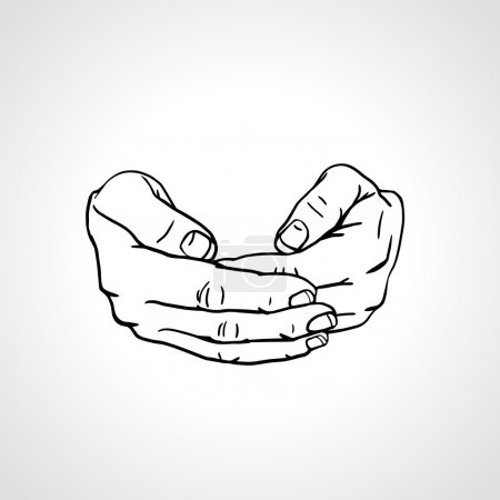 Cupped empty hands. Save gesture.