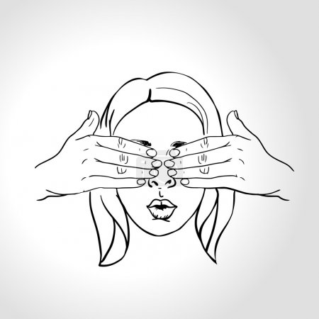 Illustration for Surprised female face, guess who concept. Man covering a girls eyes to see if she can guess who is behind her - vector illustration. - Royalty Free Image