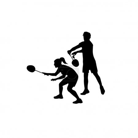 Silhouettes of mixed Team Badminton Players. Mixed doubles for badminton
