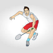 Professional badminton player Colorful hand drawn character