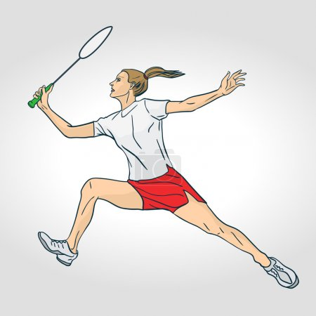 Photo for Professional female badminton player. Colorful hand drawn character. Vector illustration - Royalty Free Image