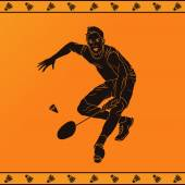 Detailed silhouette of a professional badminton player in ancient greek style