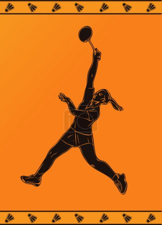 Detailed silhouette of a professional female badminton player in ancient greek style