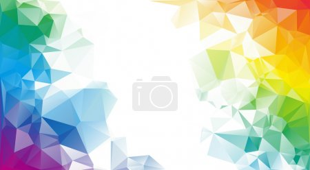 Illustration for Colorful rainbow polygon background or vector frame. Rainbow colors. - Royalty Free Image