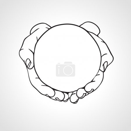Closeup of cupped hands holding a round object. Hand drawn vector illustration