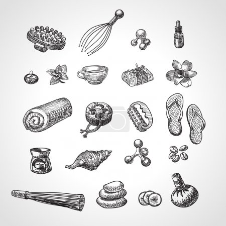 SPA and massage vector accessories set. Hand drawn wellness icon set, sketch style