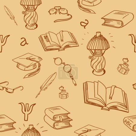 Books library seamless pattern. Reading background -- hand drawn doodle pattern.